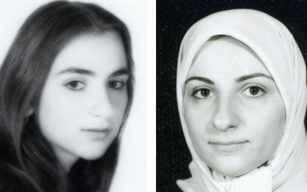 ג'קלין סאפר בגיל 16 ב-1977, לפני המהפכה האיראנית ב-1979 (משמאל), ובגיל 23, ב-1982 (מימין)