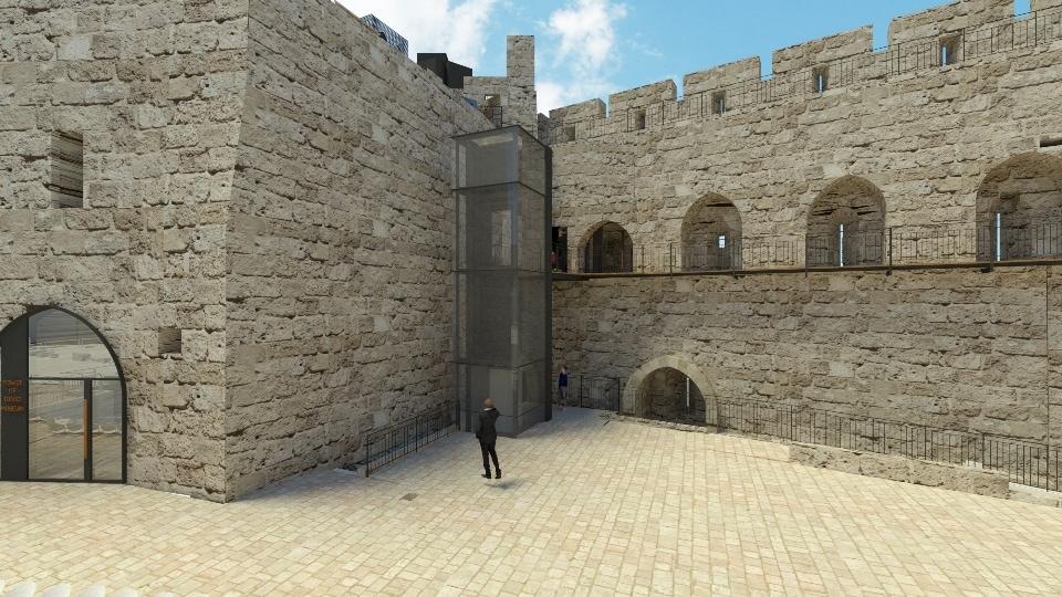 הדמייה של המעלית החדשה שתותקן במוזיאון מגדל דוד (צילום: באדיבות קימל אשכולות אדריכלים)