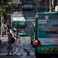 אוטובוסים של אגד בירושלים, 8 ביוני 2017 (צילום: יונתן זינדל, פלאש 90)