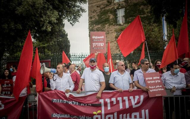 ערביי ישראל קוראים לשיוויון זכויות, מחוץ לכנסת. מאי 2020 (צילום: Yonatan Sindel/Flash90)