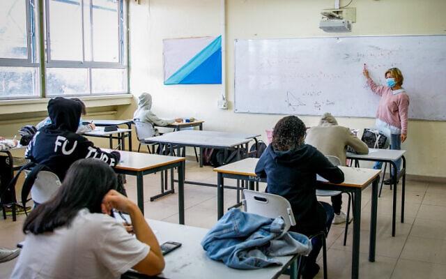 כיתת לימוד בתיכון באשדוד, 29 בנובמבר 2020 (צילום: פלאש 90)