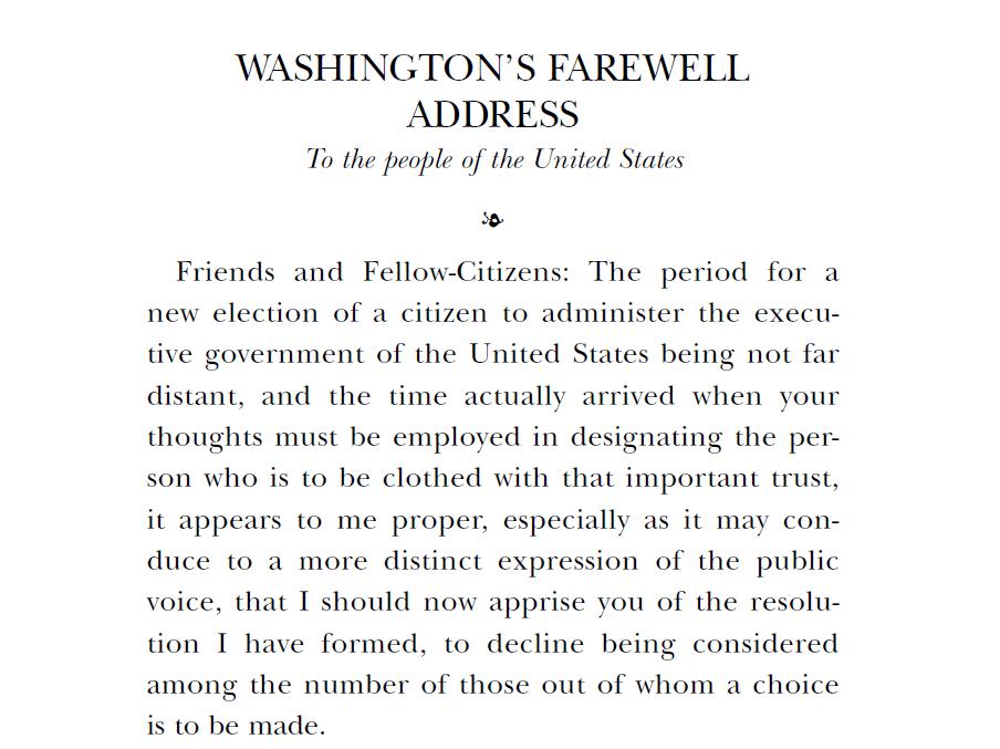 """פתיחת נאום הפרידה של וושינגטון לאזרחי ארה""""ב, 19 בספטמבר 1796"""