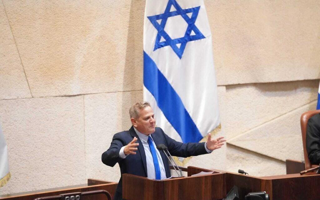 ניצן הורוביץ נואם לפני ההצבעה על פיזור הכנסת (צילום: דוברות הכנסת - דני שם טוב)
