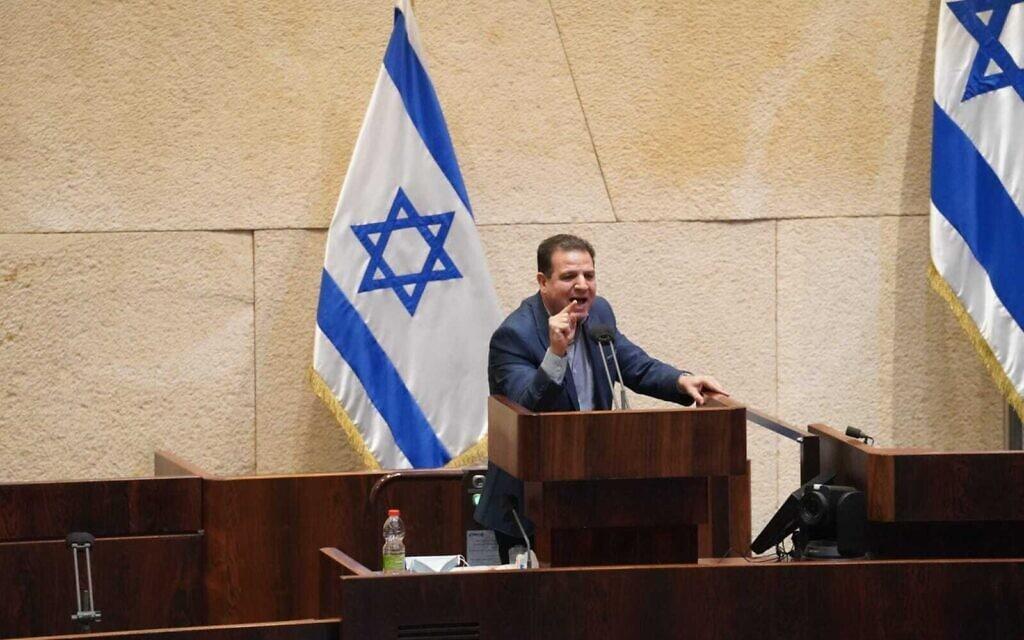 איימן עודה נואם לפני ההצבעה על פיזור הכנסת (צילום: דוברות הכנסת - דני שם טוב)
