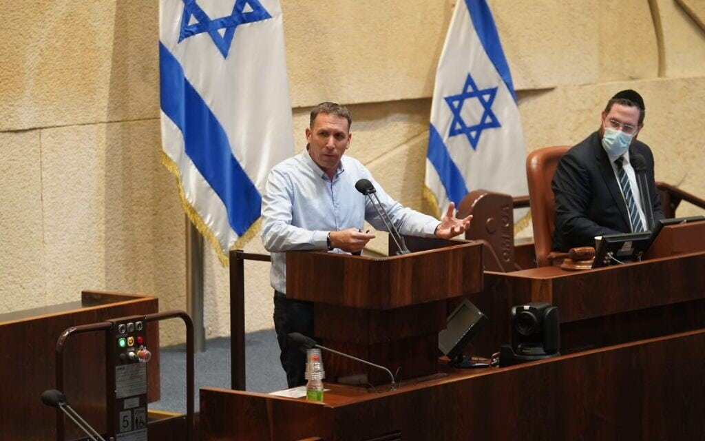 מתן כהנא נואם במליאת הכנסת, 21 בדצמבר 2020 (צילום: דני שם טוב/דוברות הכנסת)