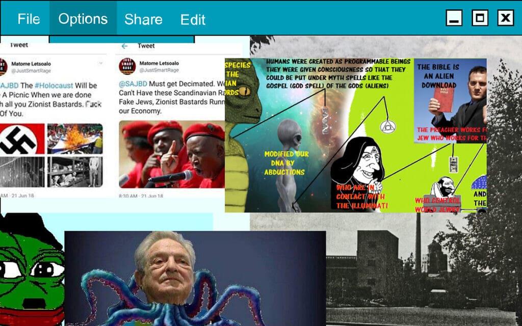 דוגמאות לגילויי אנטישמיות ברשת (צילום: צילומי מסך, עיבוד מחשב)