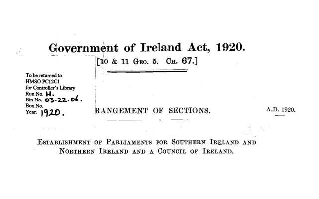 תכנית חלוקת אירלנד, 1920