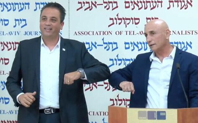 עופר שלח ורועי כהן מכריזים על הקמת מפלגה (צילום: אריק בנדר)