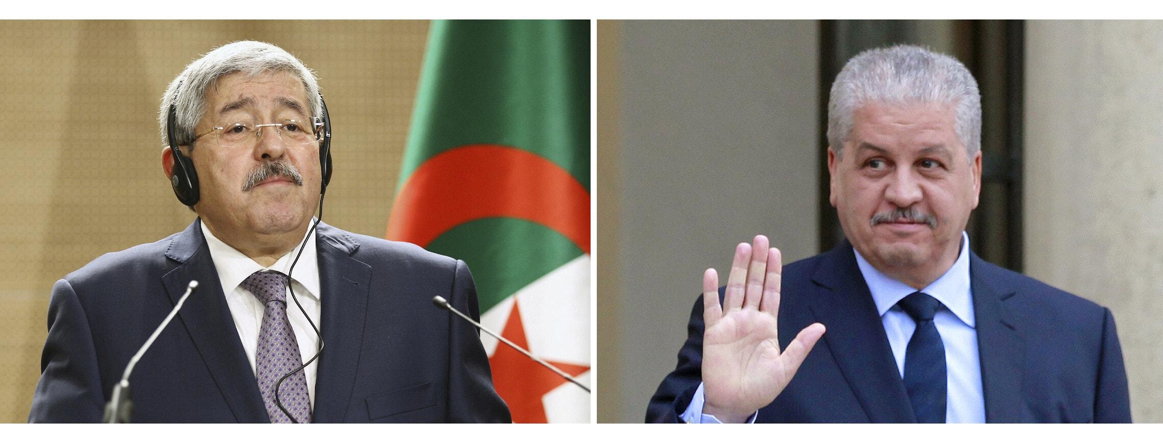 ראשי הממשלה לשעבר של אלג'יריה עבד אל-מאלכ סלאל ואחמד אויחיא (צילום: AP Photo/Anis Belghoul, Remy de la Mauviniere, Files)