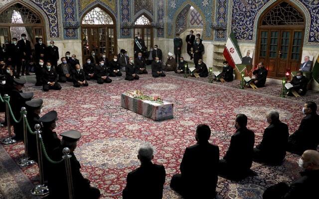 הלוויתו של מדען הגרעין מוחסן פחריזאדה בטהראן ב-28 בנובמבר 2020 (צילום: Iranian Defense Ministry via AP)