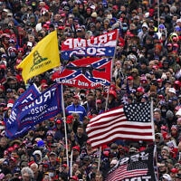 תומכי של נשיא ארצות הברית דונלד טראמפ בעצרת בוושינגטון, 6 בינואר 2021 (צילום: Evan Vucci, AP)