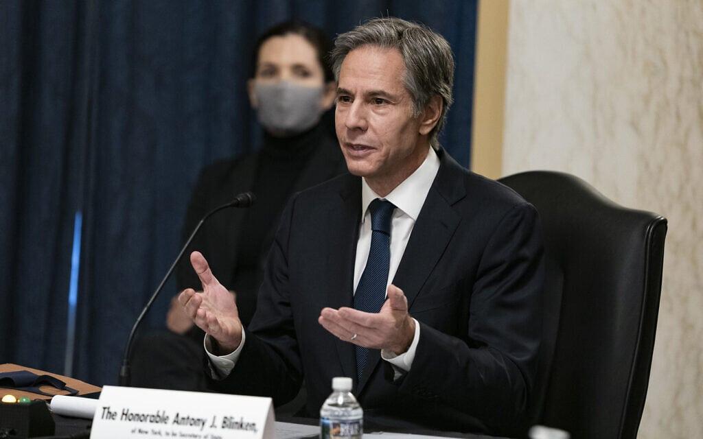 אנתוני בלינקן, המועמד לתפקיד שר החוץ בממשל ביידן, במהלך השימוע לאישור תפקידו בקונגרס, 19 בינואר 2021 (צילום: Alex Edelman/Pool via AP)