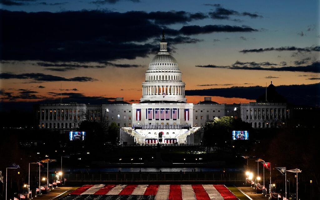 בניין הקפיטול לקראת השבעת ג׳ו ביידן וקמלה האריס (צילום: AP Photo/Julio Corte)