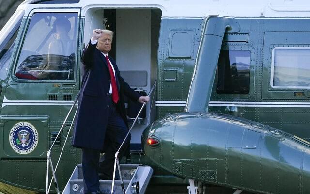 דונלד טראמפ עוזב את הבית הלבן, 20 בינואר 2021 (צילום: AP Photo/Alex Brandon)
