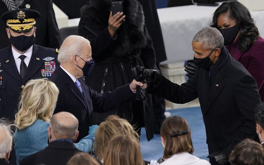 הנשיא הנבחר ג׳ו ביידן פוגש את ברק אובמה בדרך להשבעה שלו (צילום: AP Photo/Carolyn Kaster)