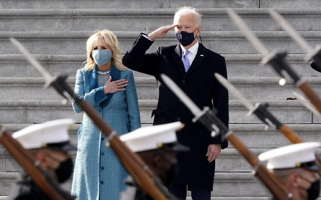 ג'ו וג'יל ביידן בסיום טקס ההשבעה, 20 בינואר 2021 (צילום: AP Photo/J. Scott Applewhite)