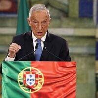 נשיא פורטוגל מרסלו רבלו דה סוזה נושא דברים בליסבון עם פרסום תוצאות הבחירות, 25 בינואר 2021 (צילום: Armando Franca, AP)