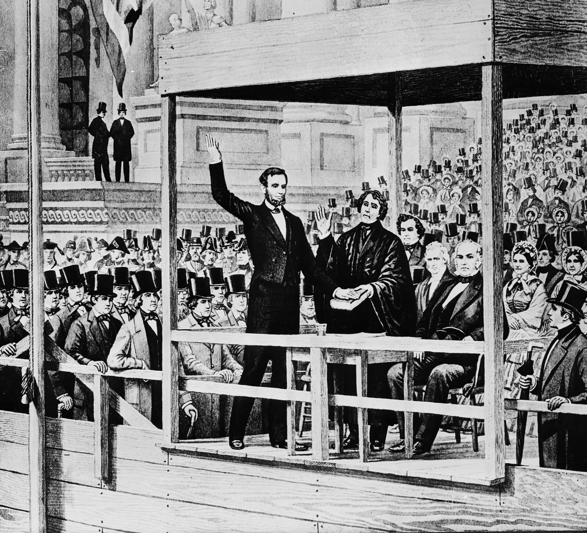 אברהם לינקולן מושבע לתפקיד נשיא ארצות הברית למרגלות גבעת הקפיטול בוושינגטון הבירה, ב-4 במרץ 1861 (צילום: AP Photo)