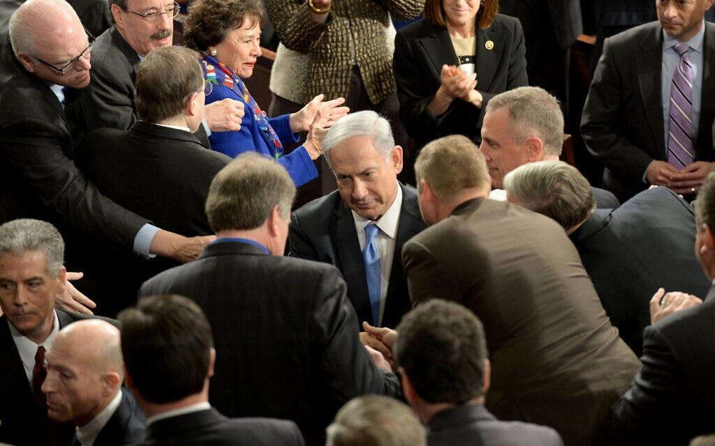"""בנימין נתניהו אחרי נאומו בקונגרס, 3 במרץ 2015 (צילום: עמוס בן גרשום/לע""""מ)"""