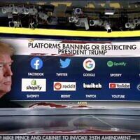 הרשתות שהחליטו לחסום או להטיל מגבלות על חשבונו של דונלד טראמפ, צילום מסך מתוך פוקס ניוז