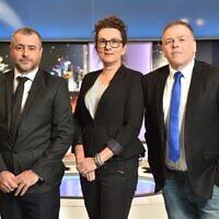 """אראל סג""""ל, עירית לינור ושמעון ריקלין בערוץ 20 (צילום: ערוץ 20, יח""""צ)"""
