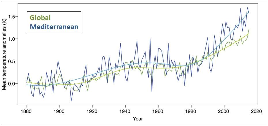 הטמפרטורות הממוצעות לאורך השנים במזרח התיכון וכן הממוצע העולמי.נלקח מתוך פירסומים של cyprus Institute Climate and atmosphere research in the Eastern Mediterranean and Middle East region