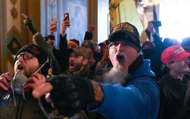 ההתפרעויות בגבעת הקפיטול, 6 בינואר 2021 (צילום: Roberto Schmidt/AFP via Getty Images/JTA)