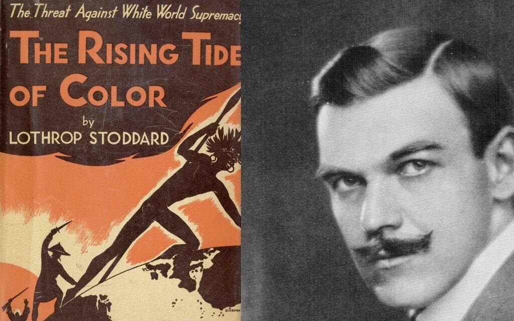 לות'רופ סטודארד (מימין) ועטיפת ספרו The Rising Tide of Color, שאותו פרסם ב-1920 (צילום: רשות הציבור)