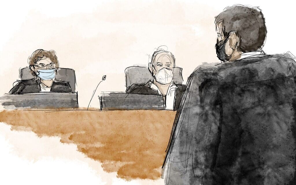 משפט נתניהו בבית המשפט המחוזי בירושלים, 8 בפברואר 2021 (איור: Biana Zakutnik)