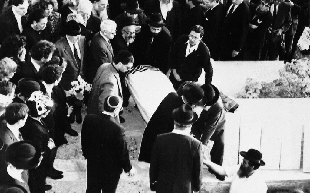 הלוויתו של רוברט מקסוול בהר הזיתים, ב-10 בנובמבר 1991 (צילום: AP Photo/Michel Euler)