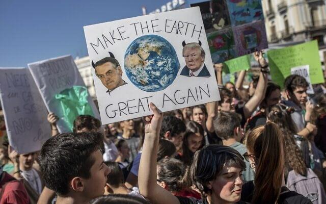 הפגנות בספרד סביב משבר האקלים, 15 במרץ 2019 (צילום: AP Photo/Bernat Armangue)