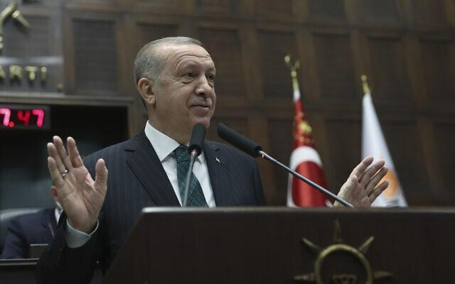 נשיא טורקיה ארדואן באנקרה, 10 בפברואר 2021 (צילום: Turkish Presidency via AP)