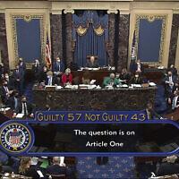 תוצאות משפט ההדחה השני של דונלד טראמפ בסנאט, 13 בפברואר 2021 (צילום: Senate Television via AP)