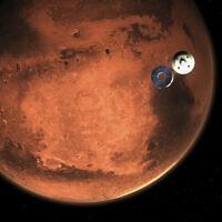 הדמיה של רכב החלל פרסוורנס על רקע מאדים (צילום: NASA/JPL-Caltech via AP)