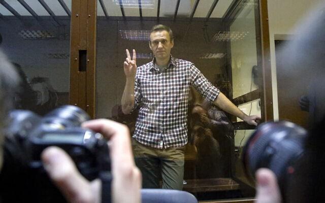 אלכסיי נבלני בבית משפט במוסקבה, 20 בפברואר 2021 (צילום: Alexander Zemlianichenko, AP)