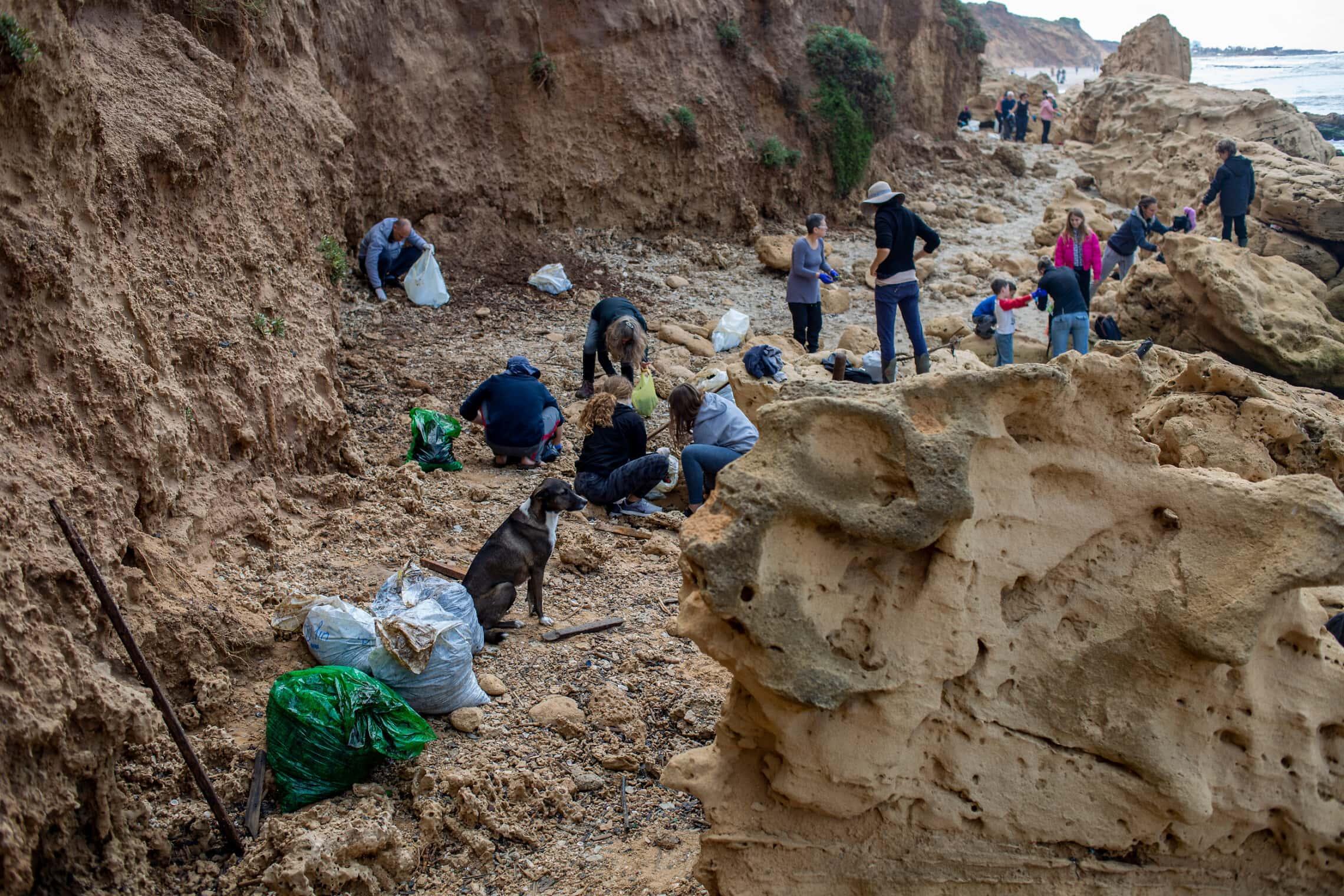 מתנדבים מנקים זפת בחוף ליד חדרה, 20 בפברואר 2021 (צילום: AP Photo/Ariel Schalit)