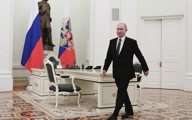 נשיא רוסיה ולדימיר פוטין במוסקבה שברוסיה, 24 בפברואר 2021 (צילום: Mihail Metzel, Sputnik, Kremlin Pool Photo via AP)