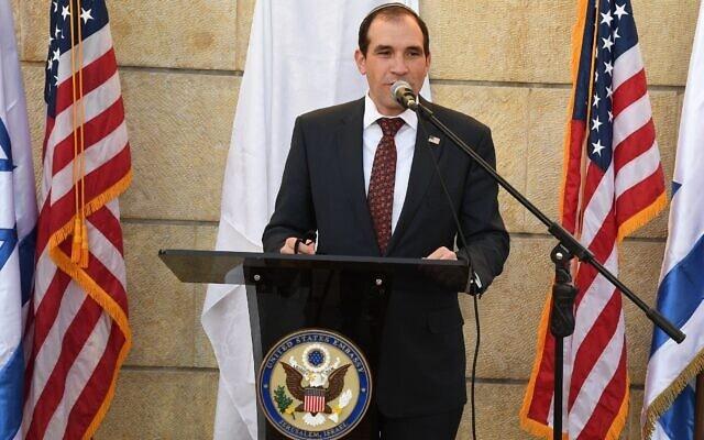 """אריה לייטסטון בשגרירות ארה""""ב בירושלים, 2 בינואר 2021 (צילום: שגרירות ארה""""ב בישראל)"""