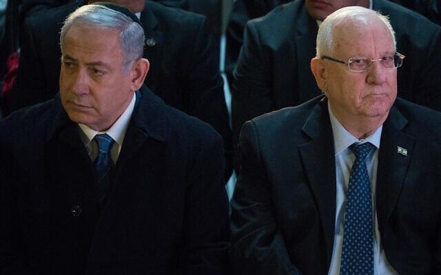 נשיא המדינה ראובן ריבלין וראש הממשלה בנימין נתניהו בטקס לחללי מערכות ישראל שמקום קבורתם לא נודע בהר הרצל, 14 במרץ 2019 (צילום: נועם רבקין פנטון/פלאש90)