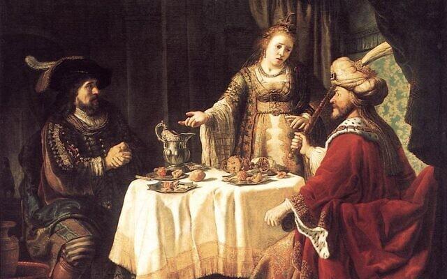 אסתר עם אחשוורוש והמן. ציור: יאן ויקטורס, 1640