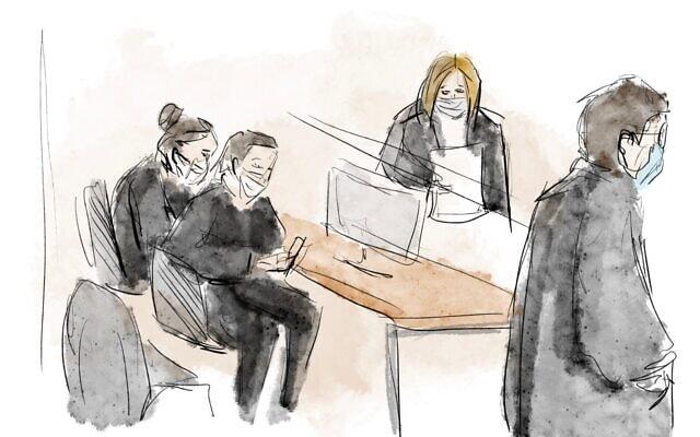 שולחן התביעה במשפטו של בנימין נתניהו – במרכז התובעת הראשית ליאת בן-ארי, 8 בפברואר 2021 (איור: Biana Zakutnik)