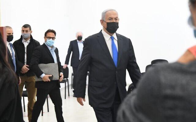 בנימין נתניהו בבית המשפט המחוזי בירושלים, 8 בפברואר 2021 (צילום: ראובן קסטרו/פול)