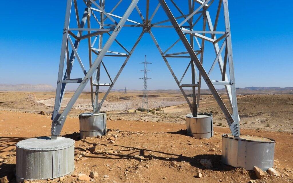 עמודי החשמל שהוצבו במכתש רמון, פברואר 2021 (צילום: דב גרינבלט, החברה להגנת הטבע)