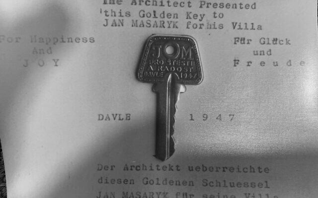 המפתח לקוטג' של יאן מסריק, שניתן לזלמן (און) אונרייך (צילום: באדיבות דוד בר-און)
