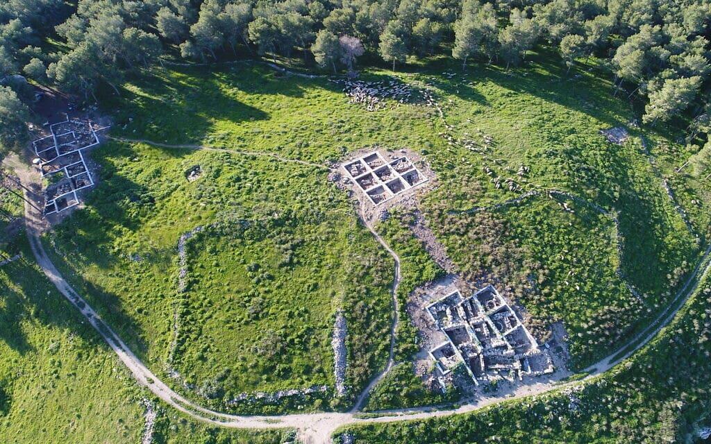צילום אווירי של מה שהיא כנראה העיר המקראית צקלג (צילום: שמואל בר-עם)