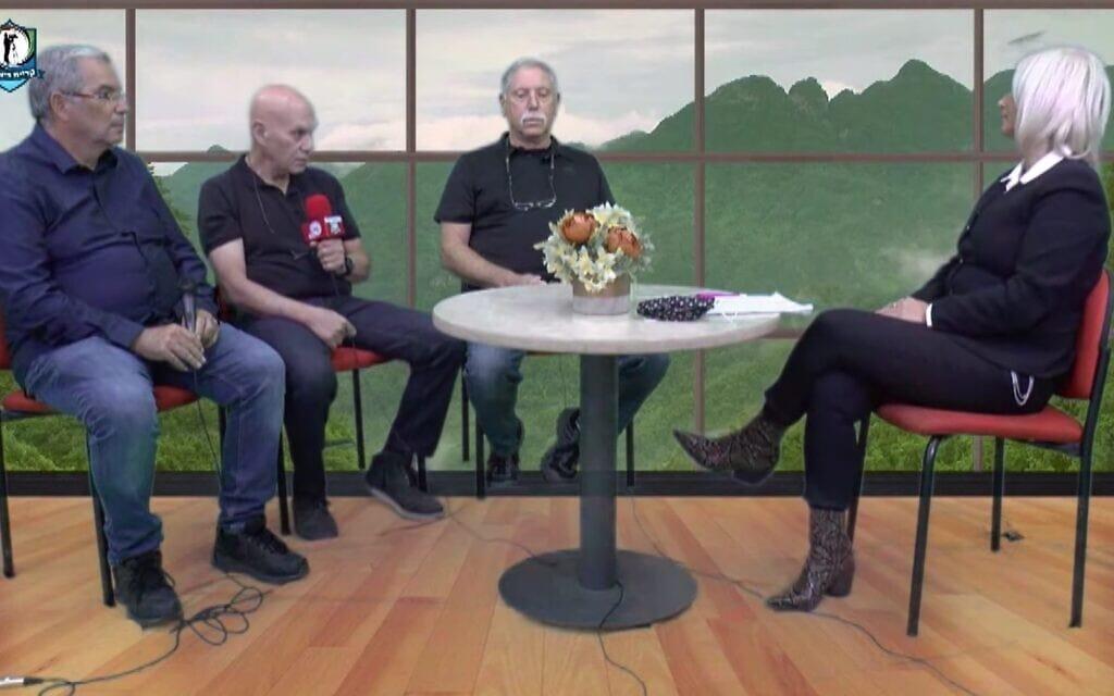 ראיון של הילה שחר עם קציני המודיעין של הר אביטל, צור שפי, אמיר בן-אשר וגבי זהר. צילום מסך מתוך הראיון