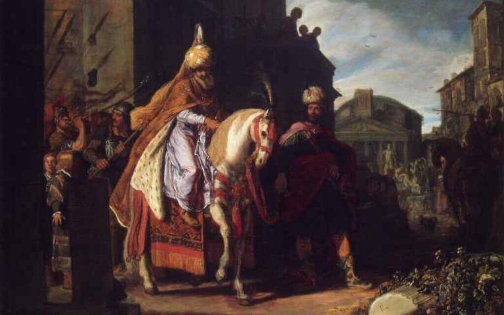 """""""נצחון מרדכי"""", המן מוליך את מרדכי הרוכב על סוס. ציור: פיטר לסטמן, 1617"""