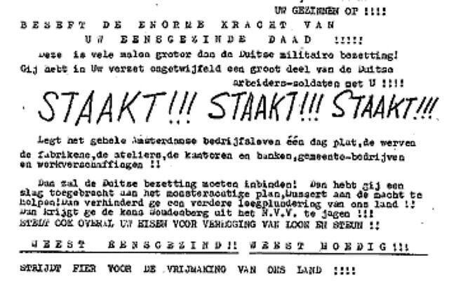 פוסטר שמכריז על השביתה בהולנד, פברואר 1941