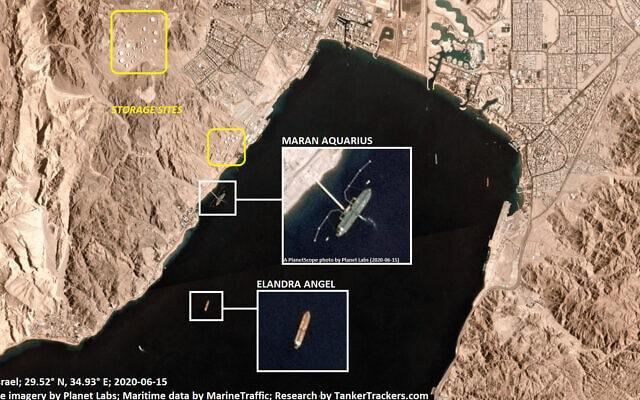 מיכליות הנפט ELANDRA ANGEL, ו- MARAN AQUARIUS בנמל אילת, יוני 2020