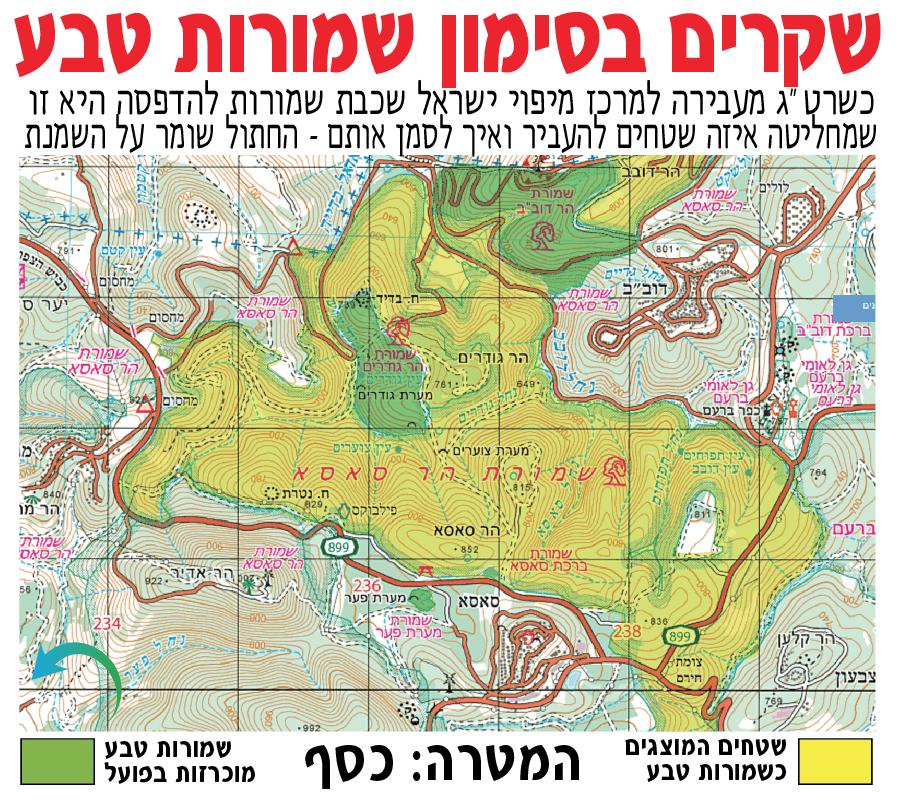 העיוות במפות שטחים המוכרזים שמורות טבע (צילום: אורי בן-דוד)